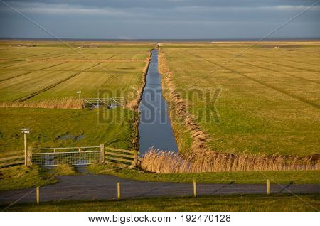 The Frisian mud flats, known as it Noarderleech, behind the Dykes in the Nothern Netherlands.