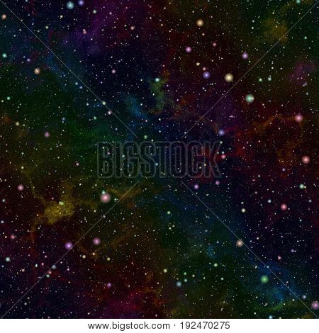 Abstract dark glittering colorful universe, Rainbow colored nebula night starry sky, Multicolor outer space, Galactic texture background, Seamless illustration