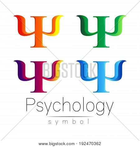 Modern Sign Set of Psychology.Psi. Creative style. Icon in vector. Design concept. Brand company. Orange blue violet green color letter on white background. Symbol for web, print, card, flyer. Bright