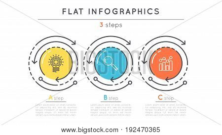 Flat style 3 steps timeline infographic template. Thin line business presentation concept. Expanded stroke.