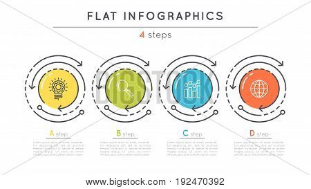 Flat style 4 steps timeline infographic template. Thin line business presentation concept. Expanded stroke.