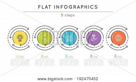 Flat style 5 steps timeline infographic template. Thin line business presentation concept. Expanded stroke.