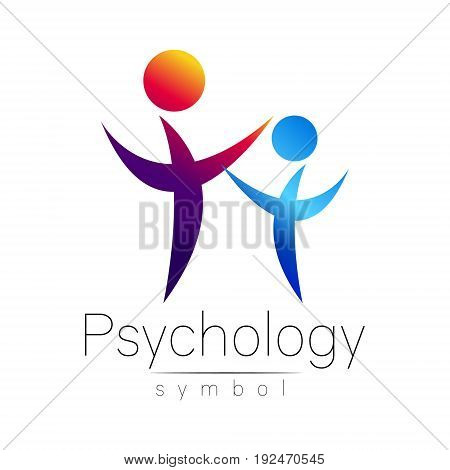 Modern people psi Sign of Psychology. Family Human. Creative style. Icon in vector. Design concept. Brand company. violet blue color isolated on white background. Symbol for web, print,