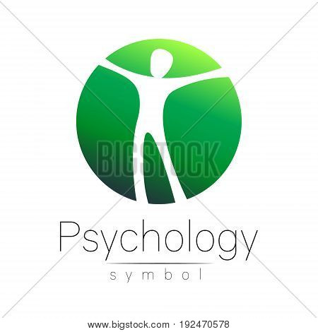 Modern man Sign of Psychology. Human in a circle. Creative style. Icon in vector. Design concept. Brand company. Green color isolated on white background. Symbol for web, print, card