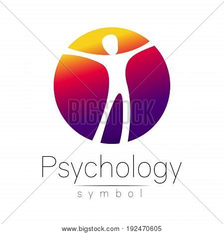 Modern man Sign of Psychology. Human in a circle. Creative style. Icon in vector. Design concept. Brand company. Violet color isolated on white background. Symbol for web, print, card