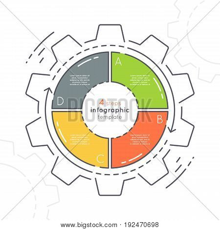 Gear shaped flat style infographic template with 4 steps. Thin line business concept. Expanded stroke.