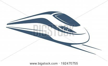 Modern high speed train emblem, icon, label, silhouette Vector illustration