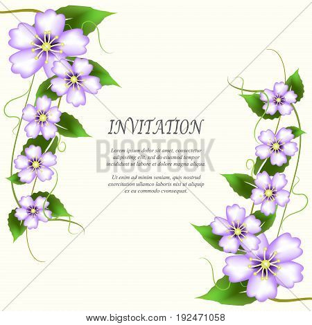 Invitation card wedding card with flowers bouquet on ivory background
