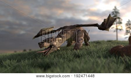 3d rendering of a dragon on hill ready to attack