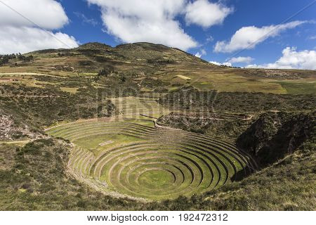 Unusual Inca ruins consisting of several terraced circular depressions at Moray. Peru