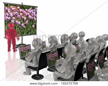 Man stands with presentation about nature white background 3D illustration.