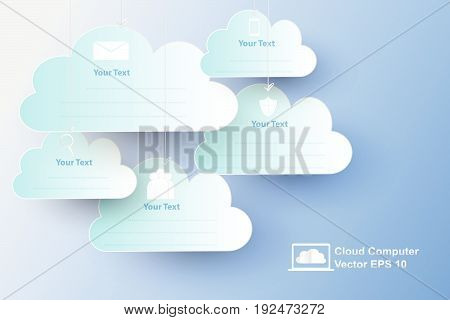cloud computer with paper art style vector, concept