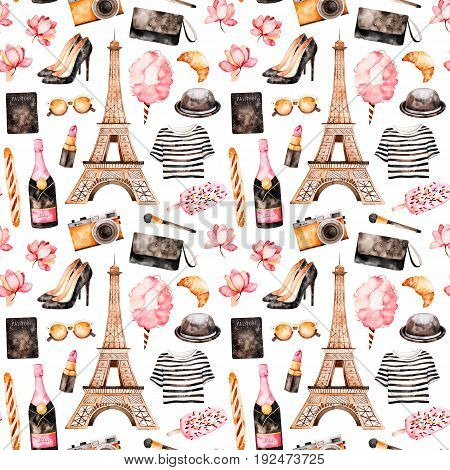 Handpainted texture with striped top, cosmetics, Tour Eiffel,champagne, cotton candy, shoes