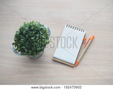wood office table with blank screen on notebook paper for text and small garden tree on pot. select focus on paper.