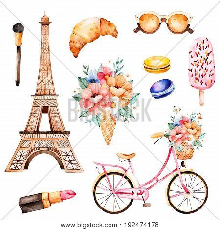 Handpainted texture with bouquet, cosmetics, bicycle, macaroons, Eiffel tower.