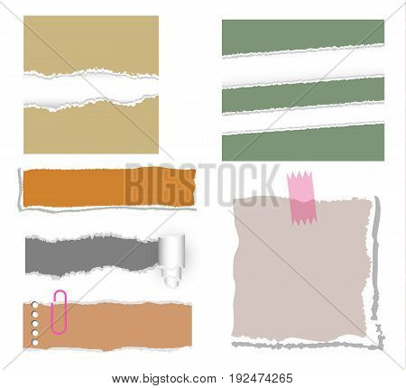 ripped note paper vector set on white background