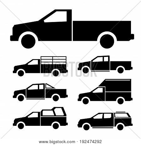 black color of pickup truck icon set
