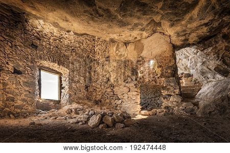 Interior of 17th century stone built bandit's house