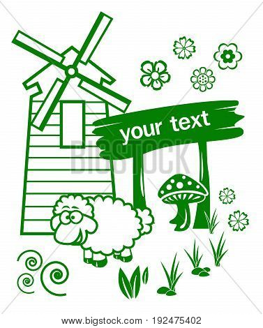 green sheep farm signage on white background