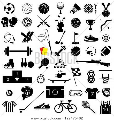 sport equipment icon set on white background
