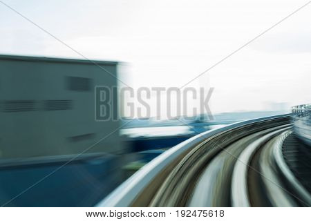 Moving blurred motion train track curved abstract background