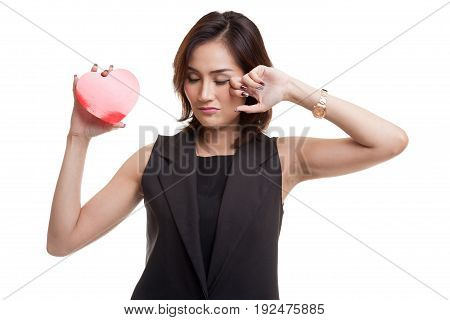 Asian Woman Sad And Cry With Red Heart.