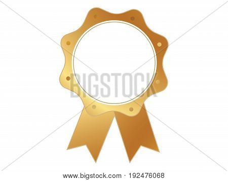 Isolated Vector Gold Color Award Medal Ribbon Badge