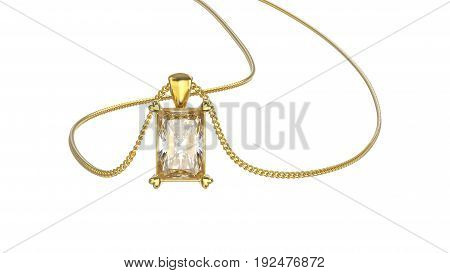 3D illustration isolated yellow gold diamond necklace on chain on a white background