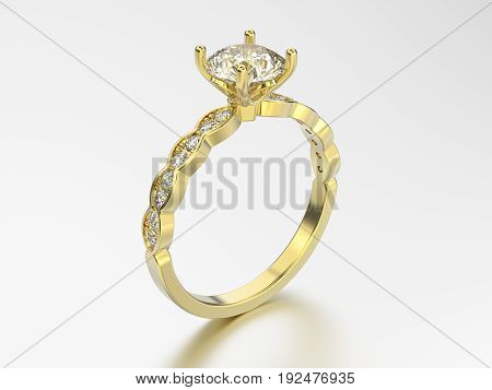 3D illustration yellow gold ring with diamonds with reflection on a grey background