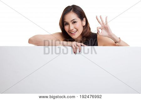 Young Asian Woman Show Ok With Blank Sign.