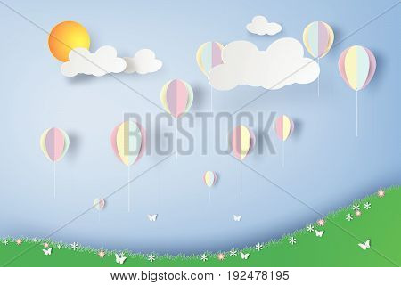 colorful Balloons in flowers garden paper art style, vector