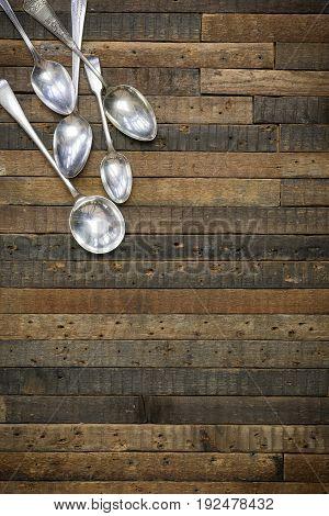 Vintage Spoons Wooden Background Flat Lay Instagram Mockup