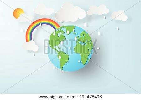 Paper art of World environment day with rainy season. Earth globe Vector illustration
