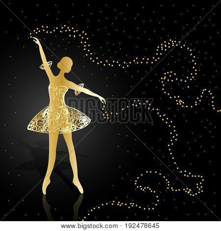 Gold ballerina holding a swirls with magic shine dust on dark background.