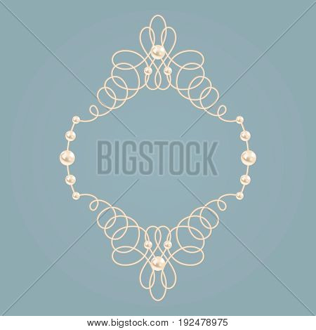 Blue and beige pastel illustration beautyful golden frame with pearls. Vector