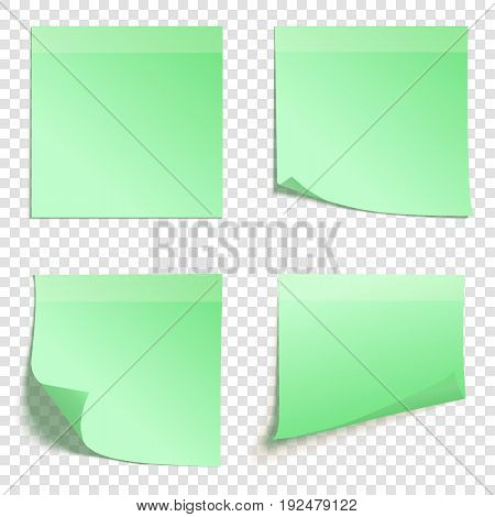 Set of square green sticky notes isolated on transparent background, vector illustration