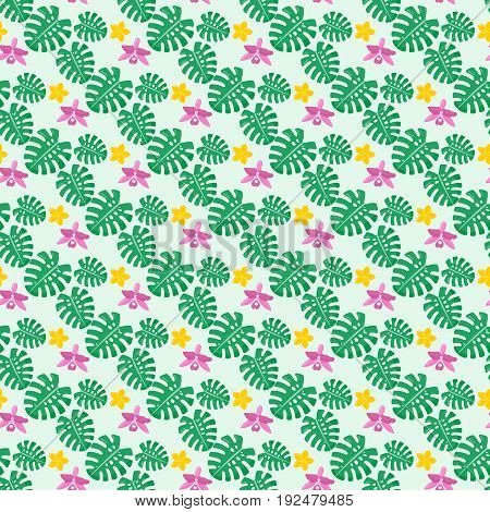 Tropical plants seamless pattern Flat design of tropical plant on the light green background vector illustration with swatch