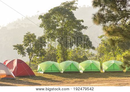 Camping tent with nature mountain outdoor background.