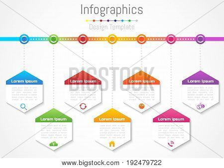 Infographic design elements for your business with 7 options parts steps or processes Vector Illustration.