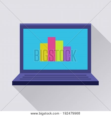 Laptop flat icon. Diagramm on screen. Internet technology or office work symbol. Flat internet icon with long shadow in cartoon style. Web and mobile design element. Vector colored illustration.