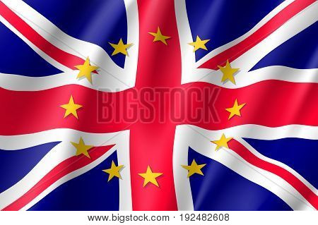 The United Kingdom national flag with a circle of European Union twelve gold stars, ideals of unity with EU, member since 1 January 1973. Realistic vector style illustration