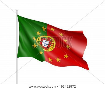 Portugal national waving flag with a circle of European Union twelve gold stars, symbol of unity with EU, member since 1 January 1986. Realistic vector illustration