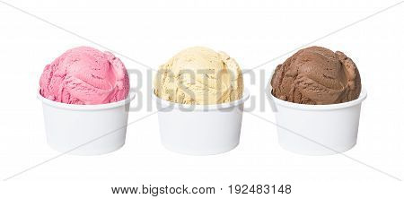 Neapolitan ice cream scoops in white cups of chocolate strawberry and vanilla flavours isolated on white background (clipping path included)