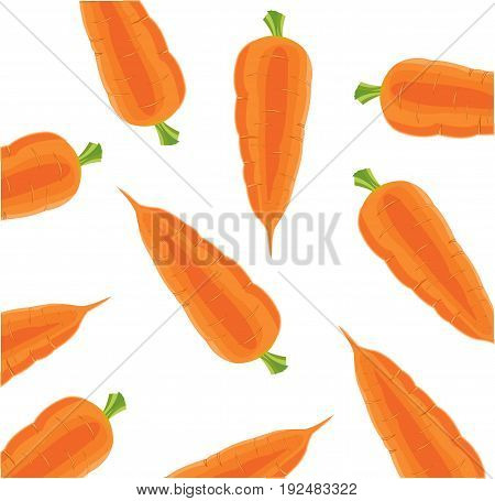 Seamless texture with vegetable carrot on white background