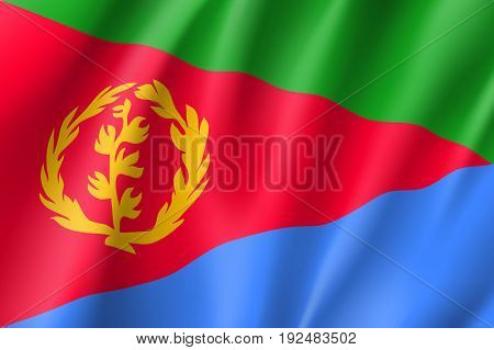 Waving flag of Eritrea. Sign african state in official djiboutian colors and proportion correctly. Patriotic sign East Africa country. Vector icon illustration