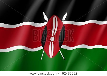 Waving flag of Kenya. Sign african state in proportion correctly and kenyan official colors. Patriotic sign East Africa country. Vector icon illustration