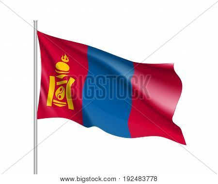 Waving flag of Mongolia. Illustration of Asian country flag on flagpole. Vector 3d icon isolated on white background