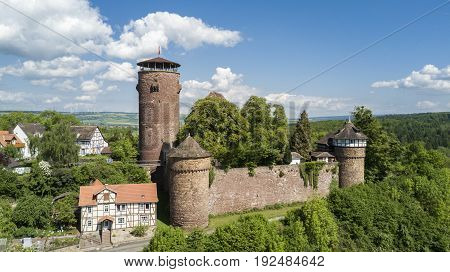 Aerial view of castle Trendelburg in Germany where Rapunzel was imprisoned