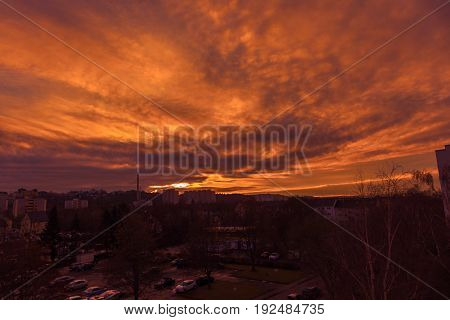 a strong colourful and cloudy sundown in Germany