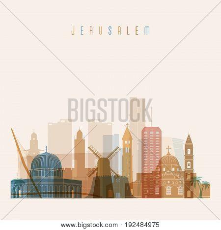 Jerusalem skyline detailed silhouette. Transparent style. Trendy vector illustration.